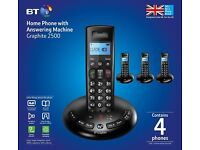 BT Graphite 2500 Quad DECT Digital Cordless Phone with Answer Machine – Black, New & Boxed £30