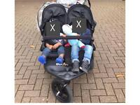 Out n About Nipper V4 Double Seat Black Pushchair Stroller Pram Buggy