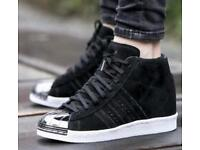 Adidas superstar metal toe high top wedge trainer
