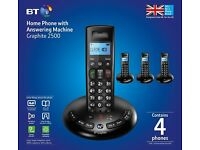 BT Graphite 2500 DECT Digital Cordless Phone with Four Handsets & Answer Machine, As New & Boxed