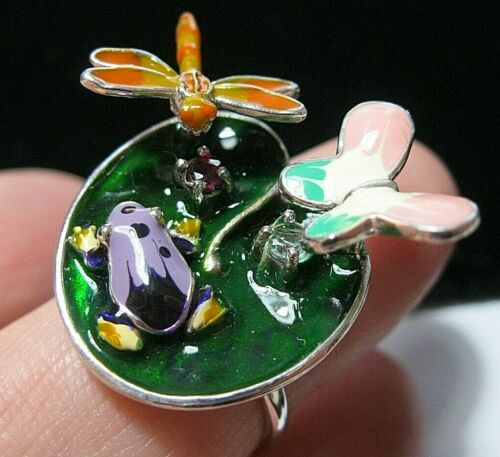 Beautiful Sterling Silver Enamel Gem Stone Frog on a Lily Pad Statement RING O 7