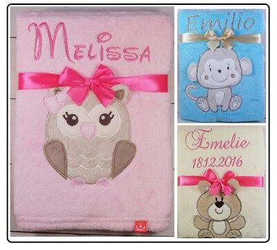 ❤️ Babydecke mit Namen und Datum bestickt  Schmusedecke Geschenk Taufe Geburt ❤️ online kaufen