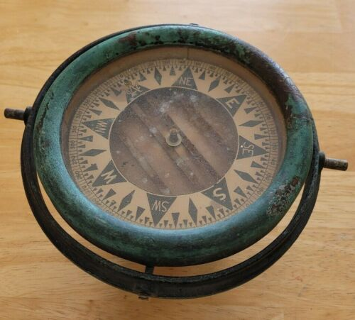 Antique Brass U.S.A Ships Compass 6 Inches Wide Marked 4-37