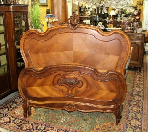 French Antique Carved Walnut Louis XV Queen Size Bed | Bedroom Furniture