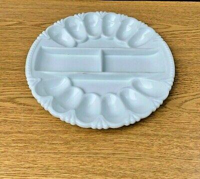 "Vintage 11"" L E Smith Heritage Milk Glass Deviled Egg Relish Plate Heavy Ornate"