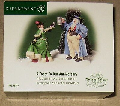"""DEPARTMET 56 DICKENS' VILLAGE """"A TOAST TO OUR ANNIVERSARY"""" NEW"""