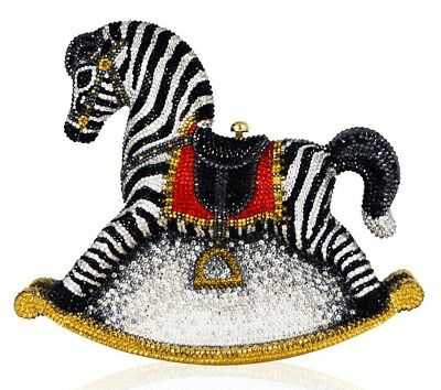 Judith Leiber Toby Rocking ZEBRA Horse Red Black Evening Minaudière Purse NEW