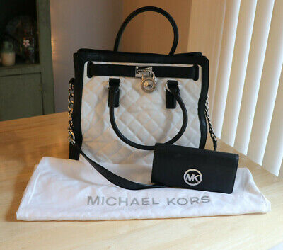 Michael Kors Lg Quilted Hamilton Bag Black White - w/ wallet & dustbag