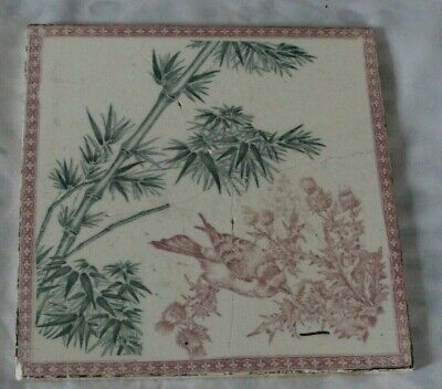 UNUSUAL LARGE LONGWY AESTHETIC TILE LATE 19C BIRD BAMBOO ETC REPAIRED