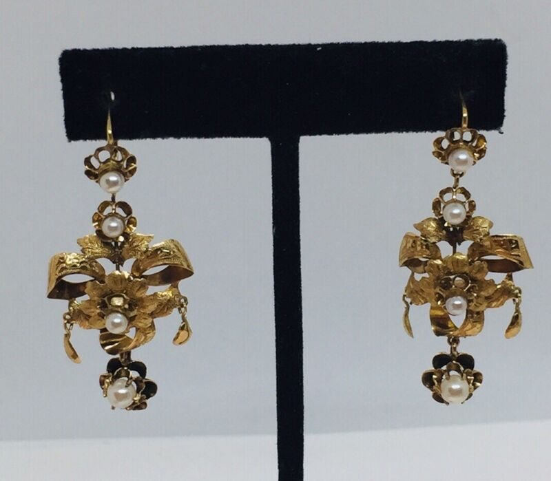 Antique Victorian 14k Yellow Gold Cultured Pearl Flower Design Dangle Earrings