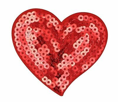 Red Sequin Heart - SEQUIN RED HEART PATCH, RED HEART SEQUIN APPLIQUE, H: 2.675