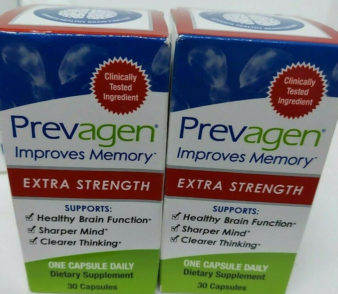 2 LOT Prevagen Extra Strength 20mg 30 X 2 60 Capsules New Sealed Package  - $97.50