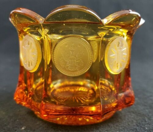 """VINTAGE Fostoria  Amber Glass Candy Dish 1887 Liberty Eagle Torch 3"""" Tall"""