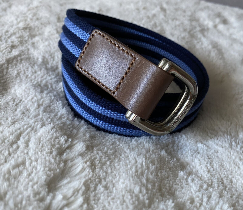 Janie And Jack Boys Belt Blue Stripe Polyester Leather Sz 2T To 3