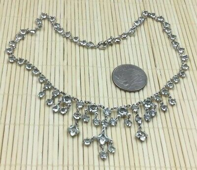 Vintage Necklace Glass Crystal Prong Set Open Back Silver Dripping Delicate