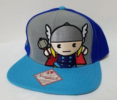 MARVEL THOR Avengers Cap Hat Blue Snapback - BioWorld Kawaii Pop Heroes - NEW (Marvel Thor Hat)
