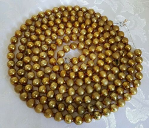 Vintage Mercury Glass Bead Garland Gold Christmas Feather Tree Antique 7.5 Feet