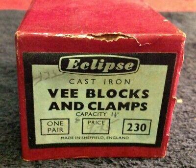 Vintage Pair Eclipse 230 Cast Iron Vee Blocks V-block Clamps 1 12 Tool Box