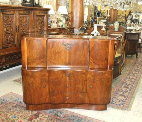 English Antique Walnut Art Deco Sideboard Buffet Wine Bar Drink Cabinet