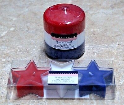 1~Unscented Red-White-Blue Pillar Candle~OR~Red-White-Blue~Tea Light Candles](Red Tea Candles)