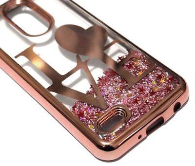 (For LG Aristo 2 PLUS - Rose Gold LOVE Hearts Glitter Liquid Skin Case Cover)