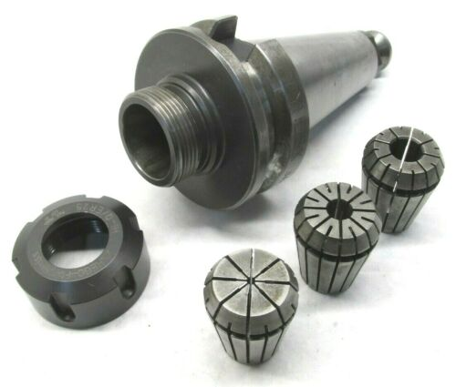 LYNDEX ER25 COLLET CHUCK w/ BT40 SHANK & 3 COLLETS