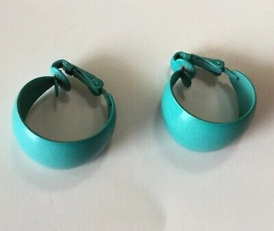 VTG 1980s CLIP BACK TURQUOISE METAL EARRINGS