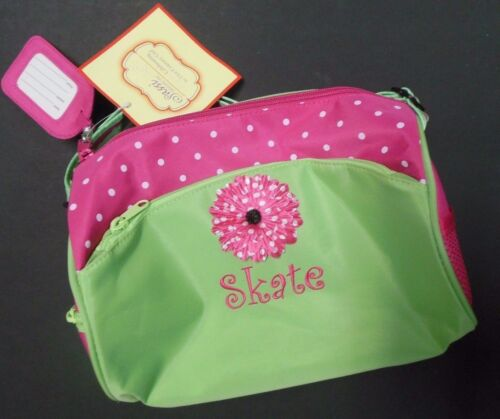 NWT Skate  girls duffle bag w/ name tag Flower front Pink Lime embroidered