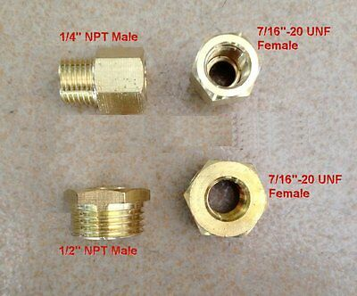 "Fitting UNF 7/16-20 ORB-04 Female to Pipe 1/4"" NPT Male Gauge Adapter (Gauge Adapter Fitting)"