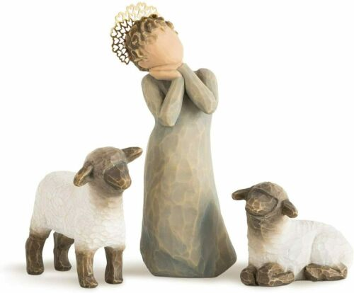Willow Tree Little Shepherdess, Sculpted Hand-Painted Nativity Figures, 3-Piece