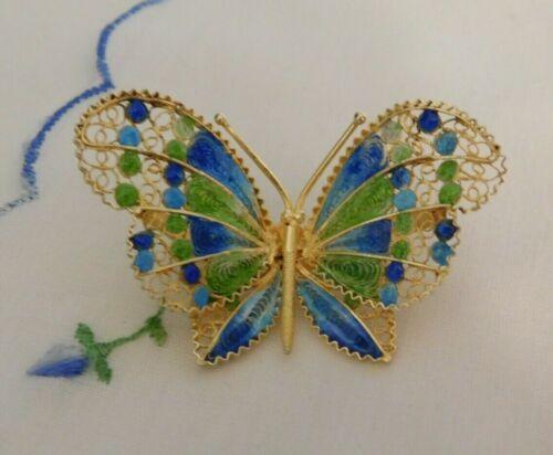 Vintage Enamel Filigree Butterfly Brooch Gold Vermeil over Silver 800Signed