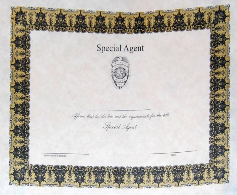 Special Agent Badge Wall Certificate FREE SHIPPING