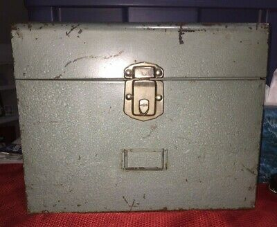 Vintage Excelsior Industrial Blue Green Metal File Document Lock Box Stamford Ct