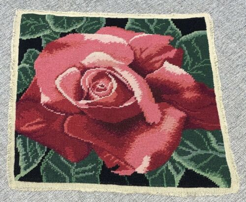Vintage Finished Solid Needlepoint Rose Flower Picture Chair Cover