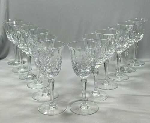 12 Cut Crystal Sherry Glasses Stemware