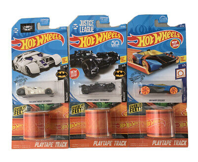 HOT WHEELS 2 BATMAN BATMOBILES W/ 1 HW Speeder + 3 PlayTape Tracks. Lot of 6 NEW
