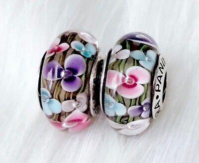 2  Pandora  Murano Glass 925  Silver charm bead teal Pink purple Flower Garden