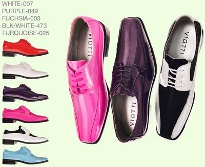 Mens Dress Shoes VIOTTI Satin Shiny Formal Oxford BIG SIZES New $59.99 Each