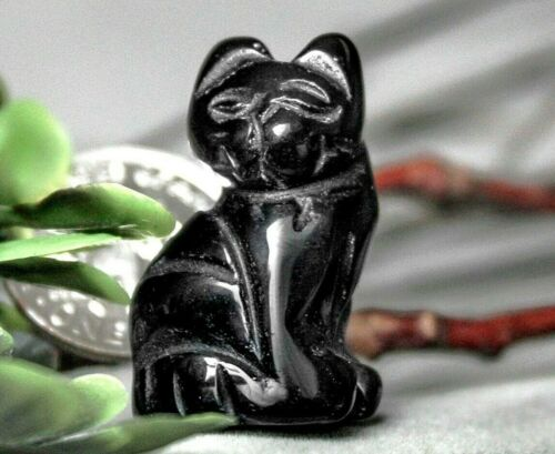 Black Cat Obsidian Gemstone Feline Spirit Animal Totem Fetish Figurine 817