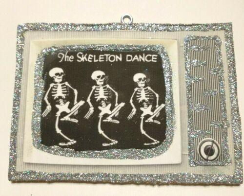 Vtg Image~~TV The Skeleton Dance Disney ~~ Halloween Glitter Wood Ornament