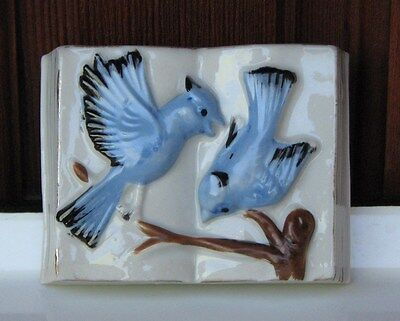 Vintage Ceramic Blue Bird and Book Wall Pocket Vase Decor Midcentury Cabin Decor