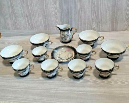Vintage Hand Painted in Japan Dragon 12 Tea Piece Set