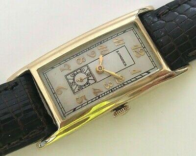 Antique 1929 14 Karat Gold Longines rectangular Swiss hand winding mens watch