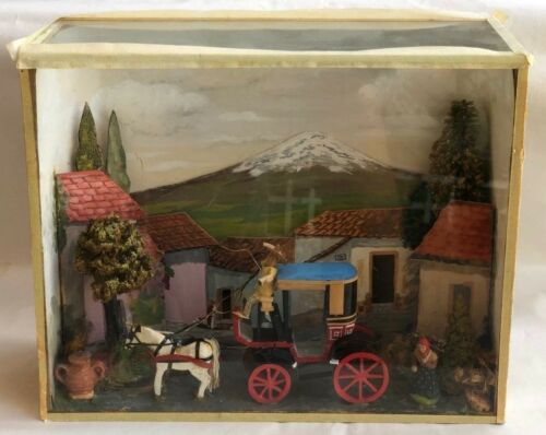 VINTAGE HAND CARVED & HAND PAINTED DIORAMA
