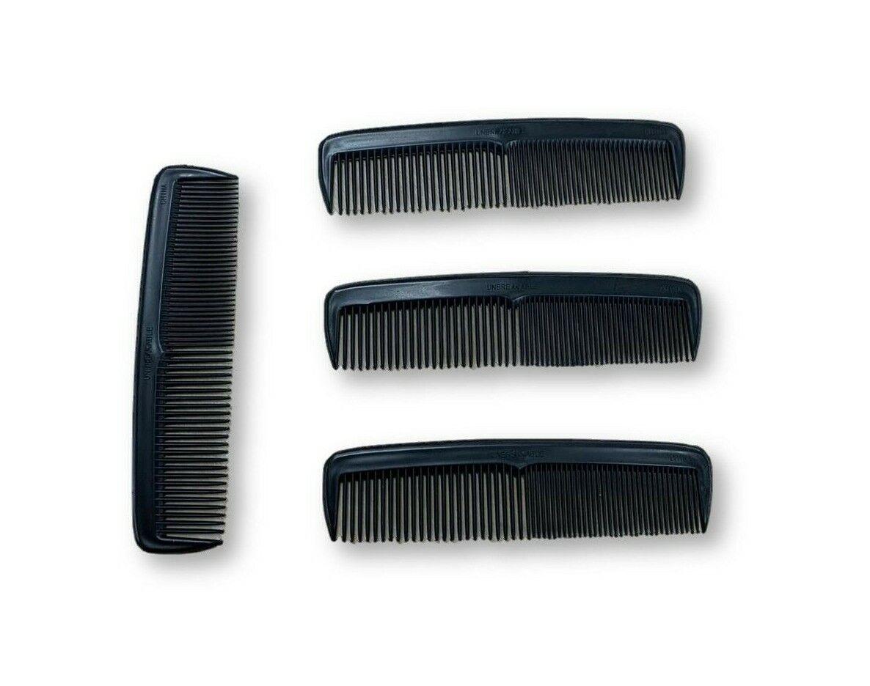 "5"" Heavy Duty Pocket Comb, Unbreakable, Black, Pack of 4"