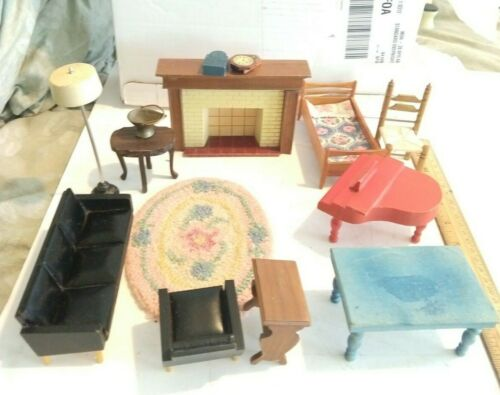 Vintage Dollhouse furniture, dolls, mid century Lundby, living room, bed