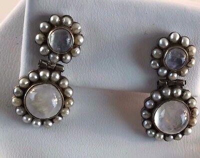Sterling Silver Moonstone Freshwater Pearl Cluster Dangle Pierced Earring
