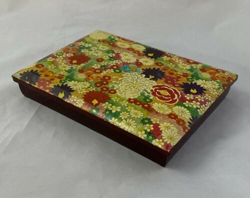"""Vintage Lacquer Box Made in Japan Mid Century Modern Floral Design 7"""" x 5 MCM"""