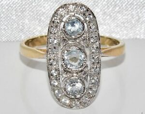 Art Deco 9ct Yellow Gold on Silver Natural Aquamarine Cluster Ring - size Q