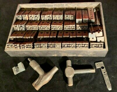Antique 1878-1890 Wickersham Type Set Letter Press Quions Wedges Keys